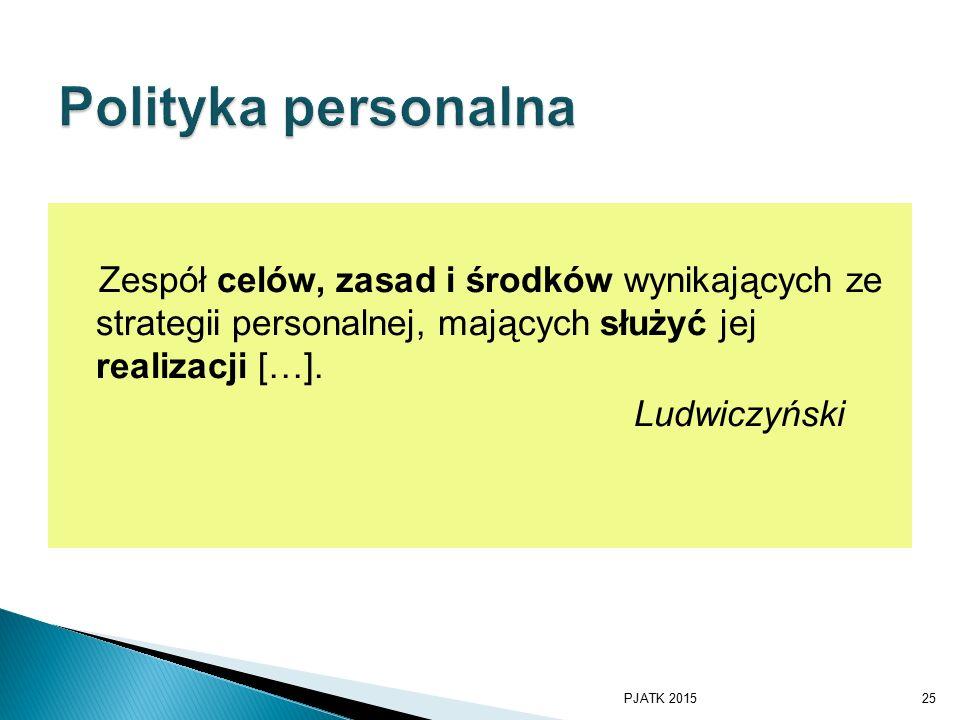 Polityka personalna Zespół celów, zasad i środków wynikających ze strategii personalnej, mających służyć jej realizacji […].